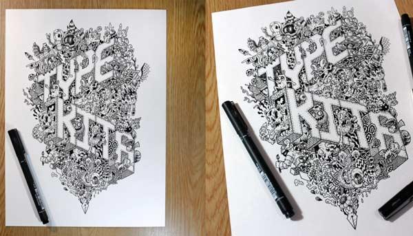 jadi doodle art masih warna hitam putih dan kelihatan keren 17 Contoh Gambar Doodle Art Nama Hitam Putih