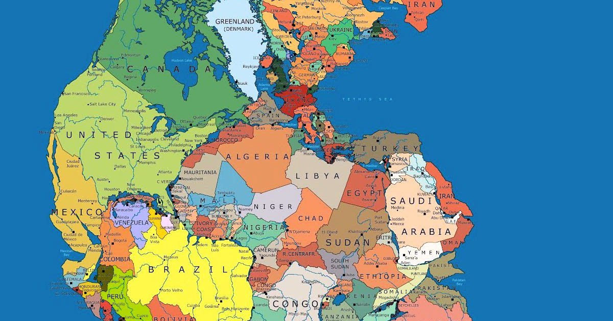 what pangea would look like with our current international
