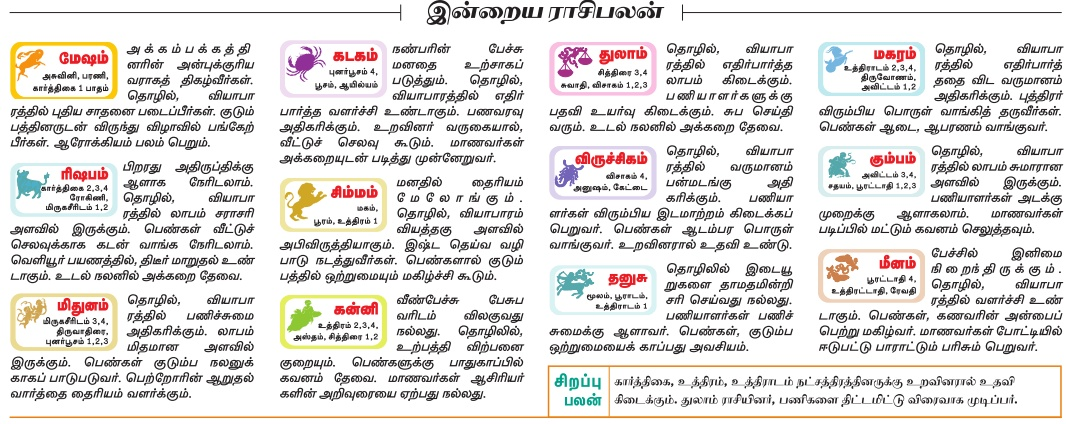 Daily Tamil Rasipalan from Tamil Daily Newspaper Dinamalar