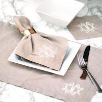 tan napkin with silverware