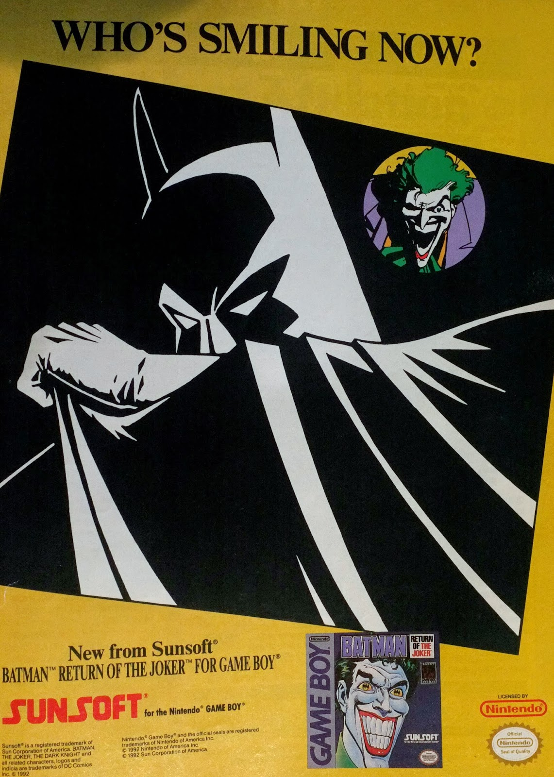 Batman. Return of the Joker for Game Boy advertisement