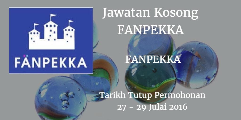 Jawatan Kosong FANPEKKA 27 - 29 Julai 2016