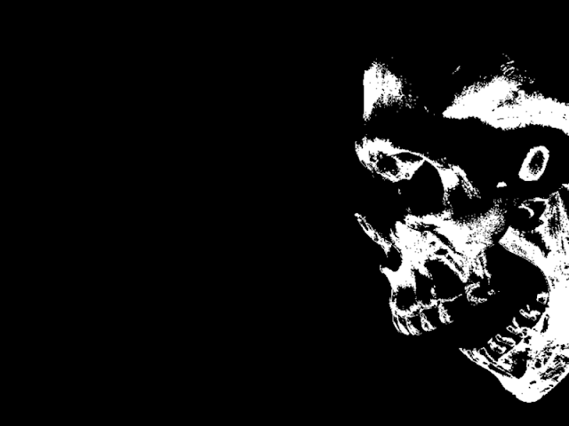 Black background of skull