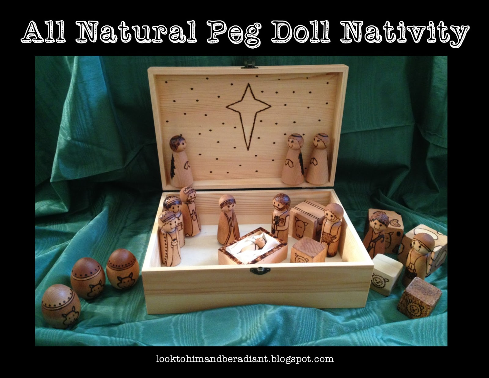look to him and be radiant woodburned peg doll nativity how to