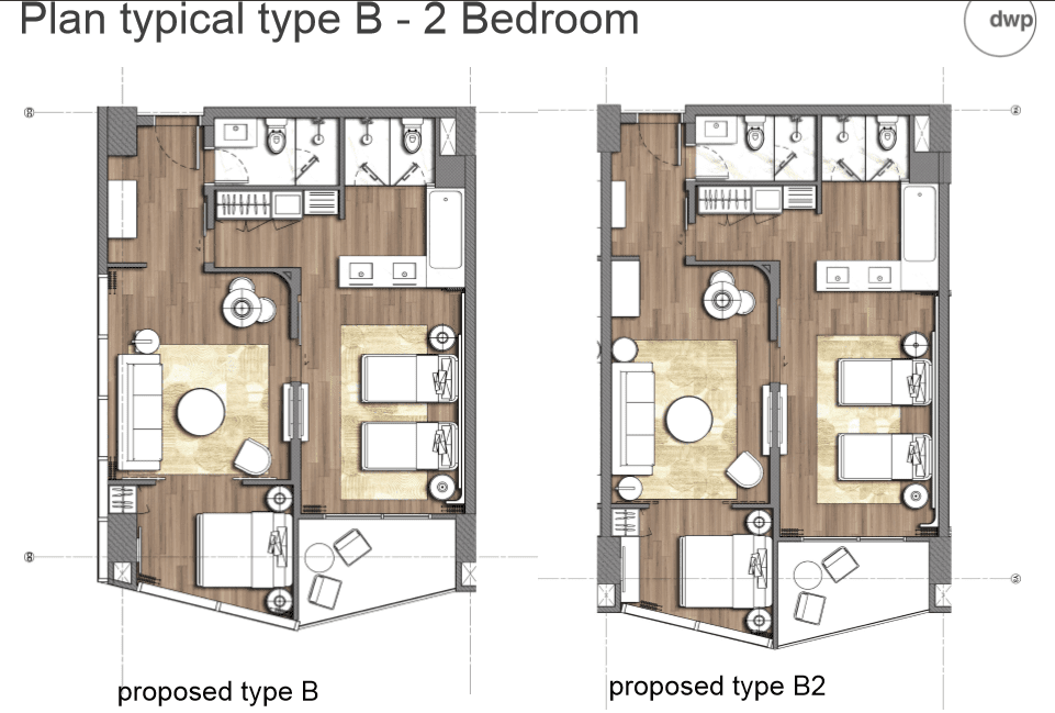 Plan typical type B - 2 Bedroom