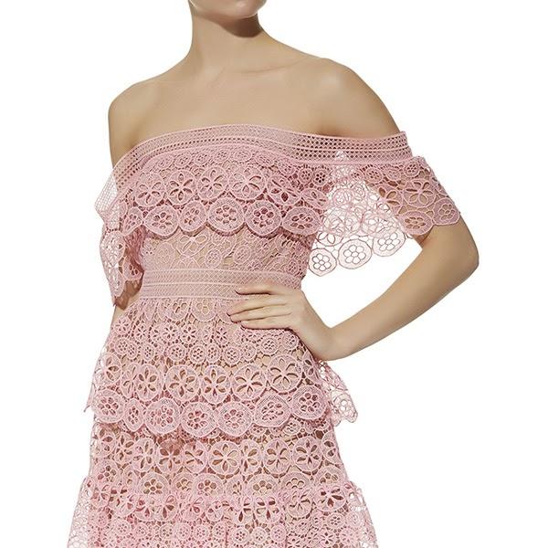 9ec48398a6b9 Details about $405 SELF-PORTRAIT Pink Off Shoulder Circle Floral Lace Dress  SP18-134 UK10 UK12