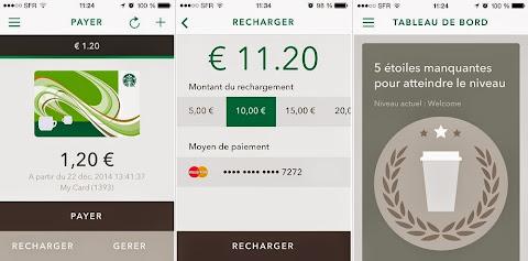 圖片說明: 法國 Starbucks 行動APP畫面。圖片來源: JDN