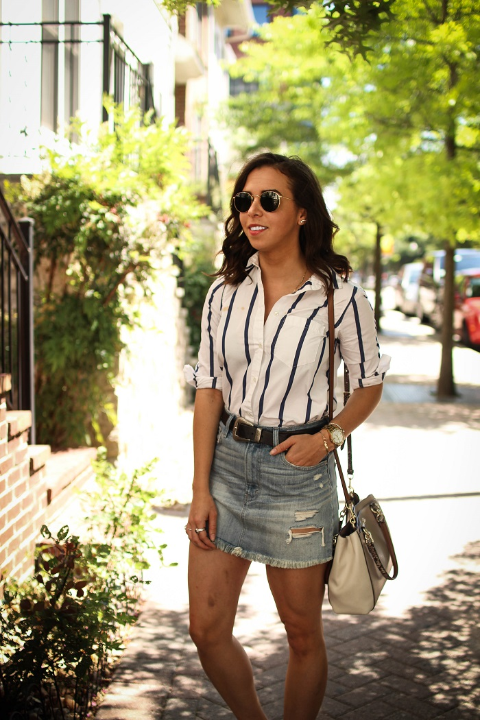 how to style a double breasted blazer | A.Viza Style | double breasted blazer - loft white high waist skinny jeans - rayban round sunglasses