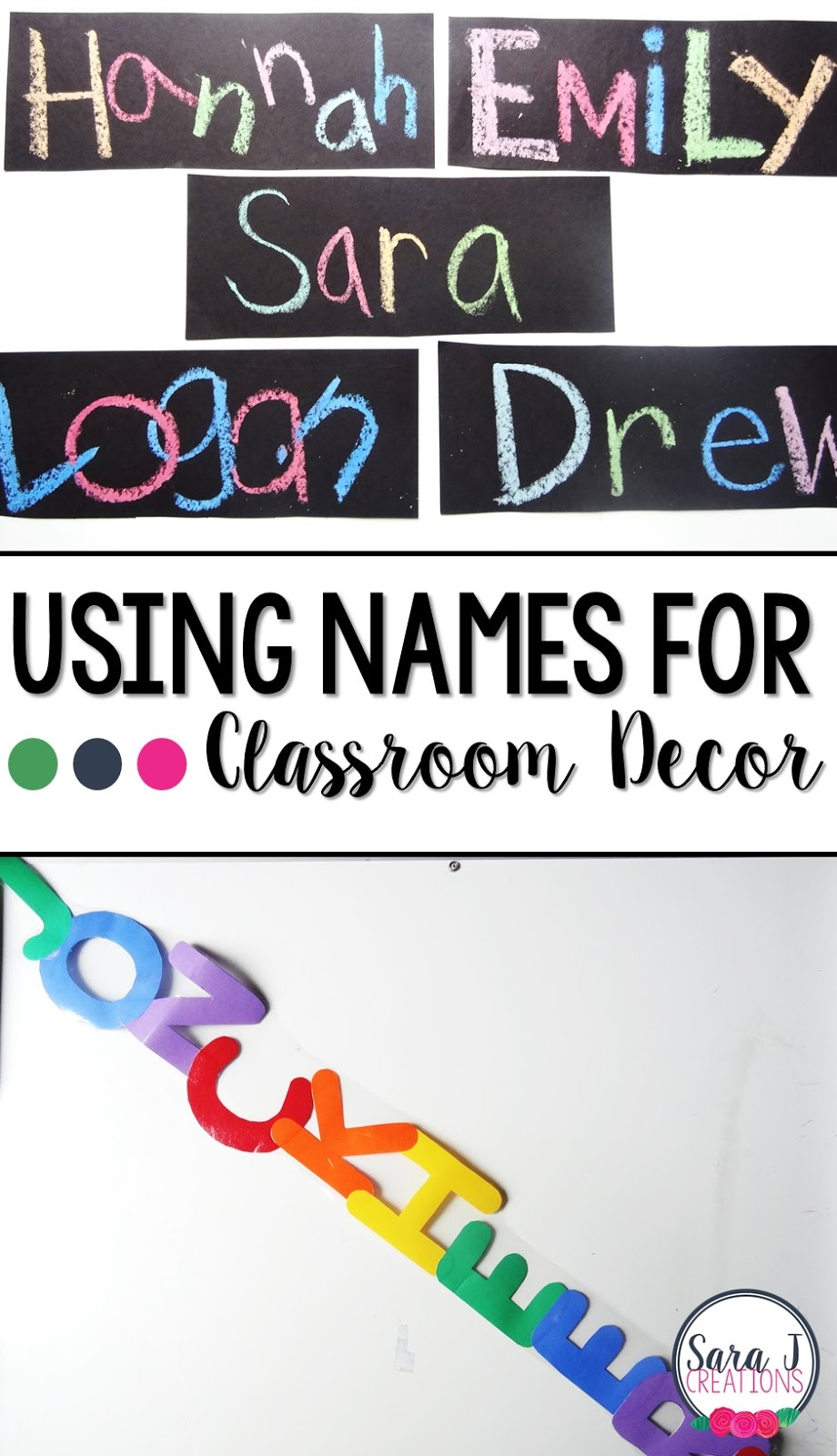 Need some ideas for DIY classroom decor for an elementary classroom?  I love using student names as part of the decor!  Great way to start off the back to school season with your students.