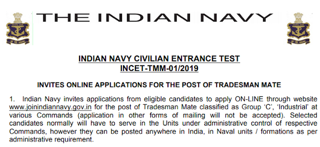 Latest Indian Navy-2019 Apply Online For 554 Posts Of Tradesman