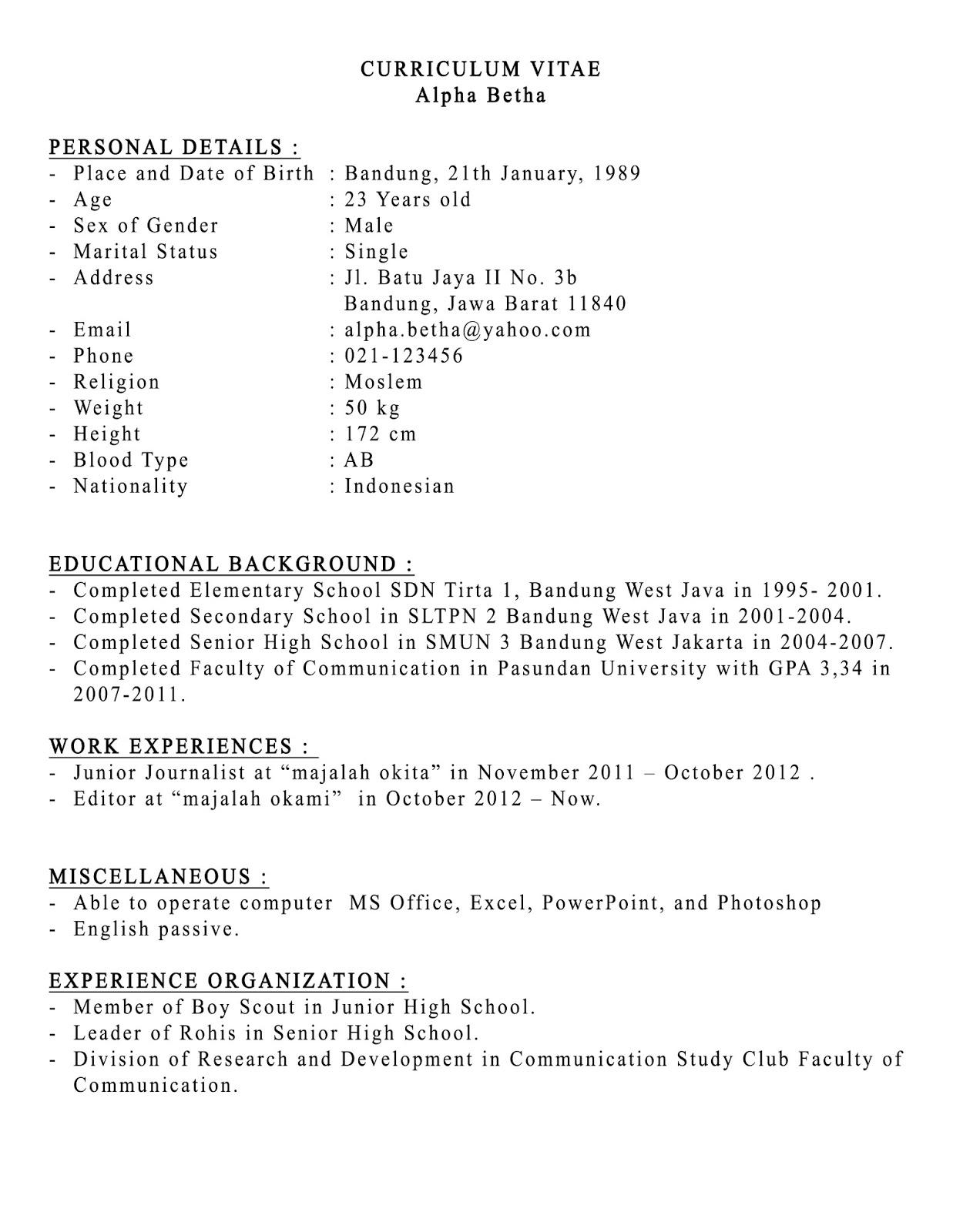 Contoh Curriculum Vitae Dengan Bahasa Inggris Cv Nabila