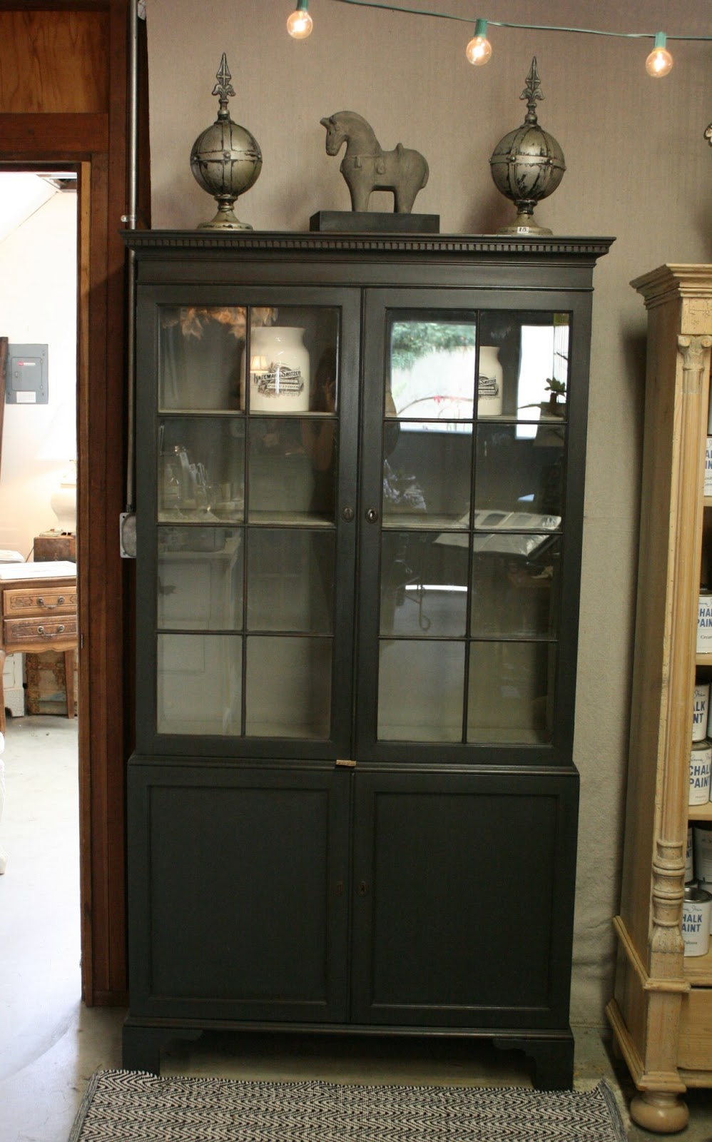 Reloved Rubbish Graphite And French Linen China Cabinet