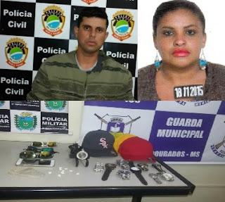 Casal é preso pela Guarda Municipal de Dourados (MS) acusado de tráfico de drogas na Vila Cachoeirinha
