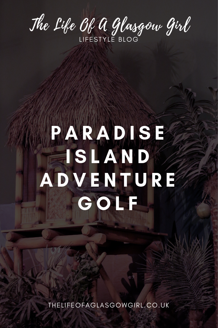 pinterest image with a fake tiki hut in the background