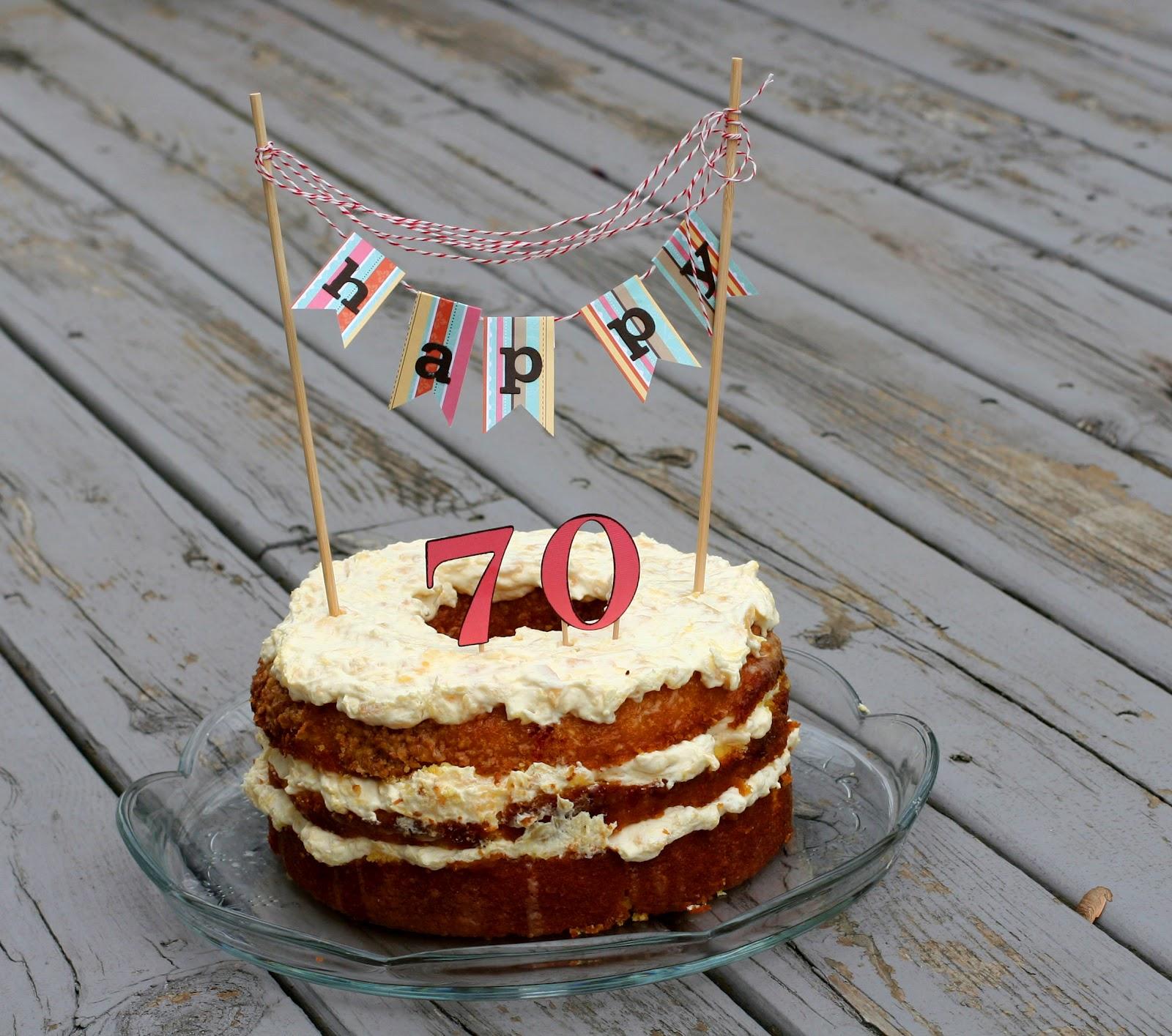 Notable Nest: 70th Birthday Banner Cake