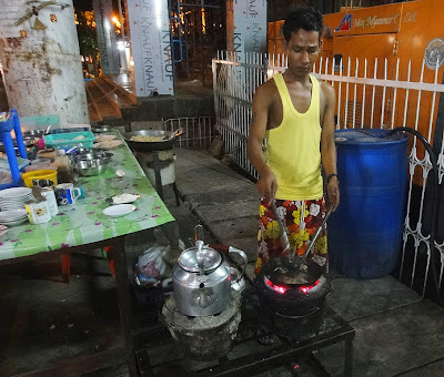 Yangon night market and fast food