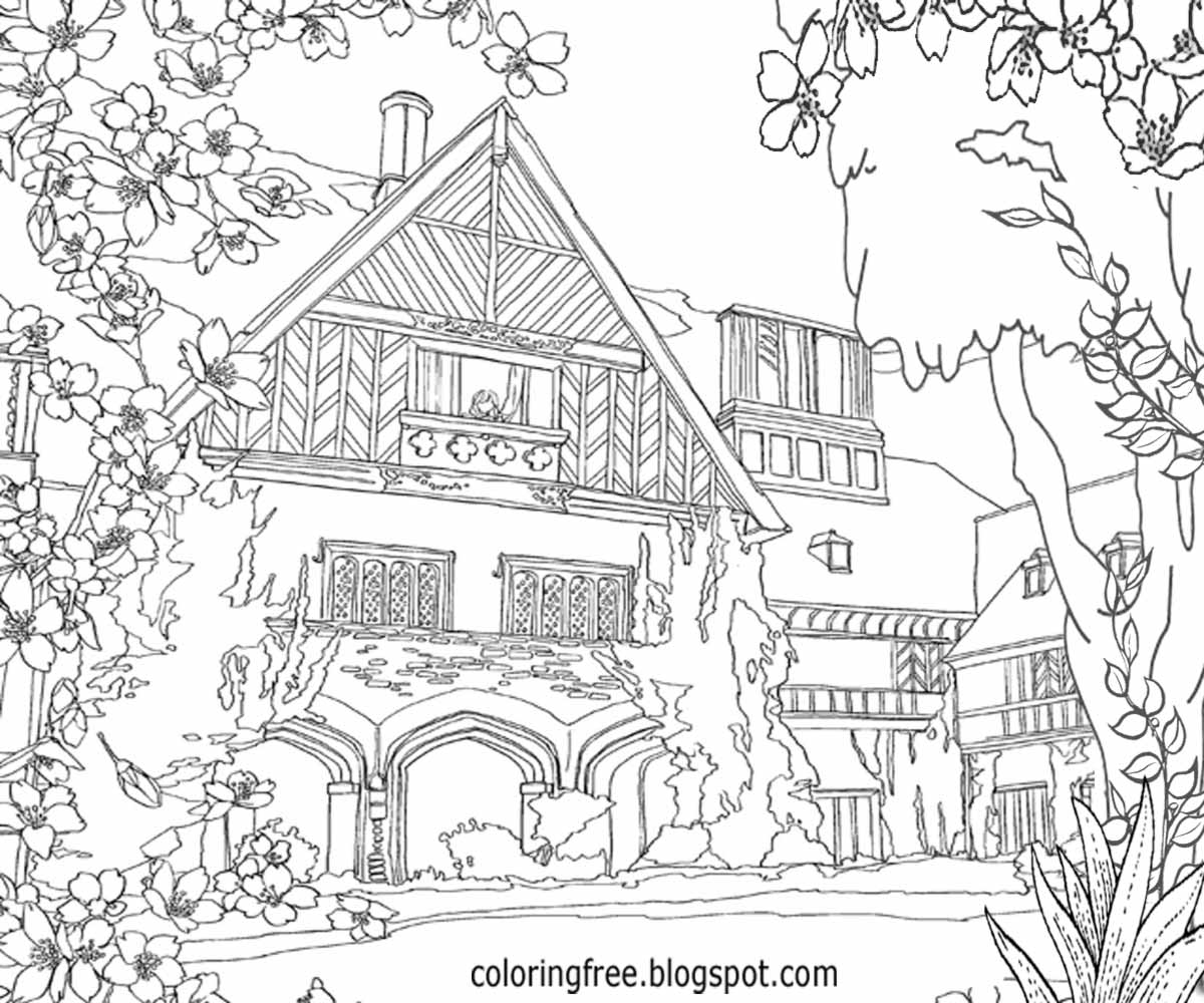 enhanced landscape vintage gardening image advanced old english residence architecture pretty flower trees driveway complicated coloring pages for adults