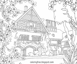 coloring printable garden adults drawing flower landscape complicated english mansion trees pretty corporatetechniques source