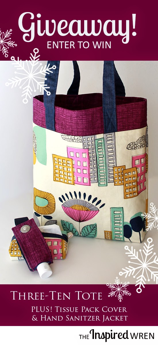 Enter to win the 3-10 Tote, Tissue Pack Cover, and Hand Sanitizer Jacket from The Inspired Wren -- or just click through for tutorials to make them yourself!
