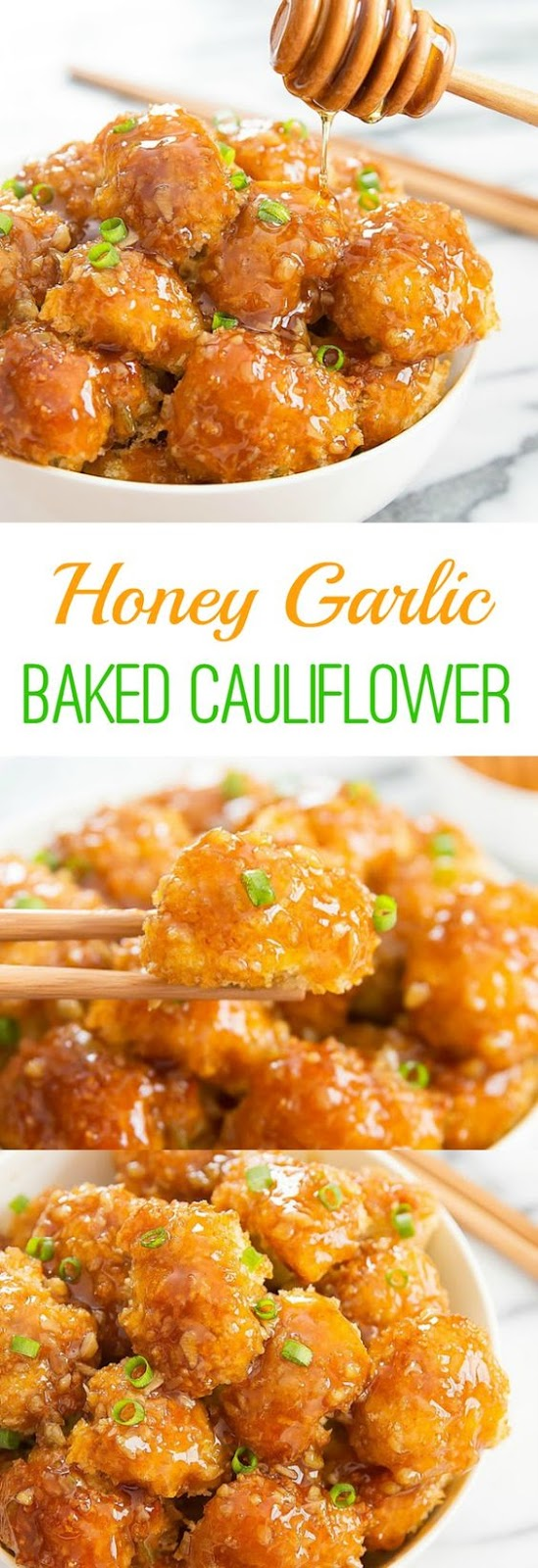 Crunchy baked breaded cauliflower pieces are coated with honey garlic sauce. It's an easy and delicious weeknight mea