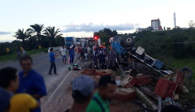 Caminhão com frangos vivos tomba e deixa três mortos na BR-101, em Alagoinhas