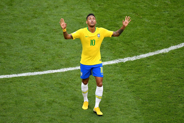Neymar celebrates his goal for Brazil against Mexico during the quarter final match of Russia 2018 world cup