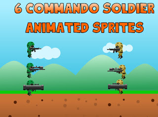 6 commando soldiers animated sprites
