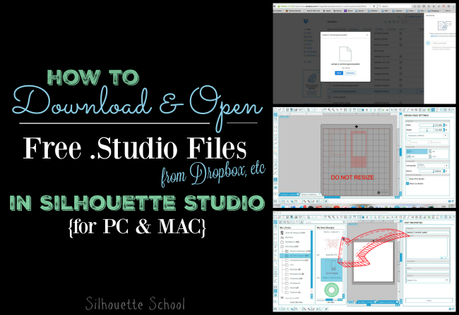 Silhouette Studio, open files, open free files, Mac, PC