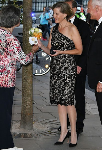 Sophie, Countess of Wessex attended the Everyday Heroes 2016 awards ceremony at the Grange St Pauls Hotel, Stella McCartney black macrame lace dress