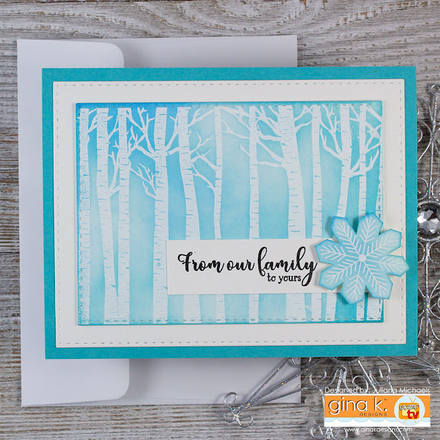Winter Birch Trees Holiday Card with Die Cutting and Distress Ink by Juliana Michaels. Stamp set is Warmer With You by Gina K Designs for Simon Says Stamp Stamptember.