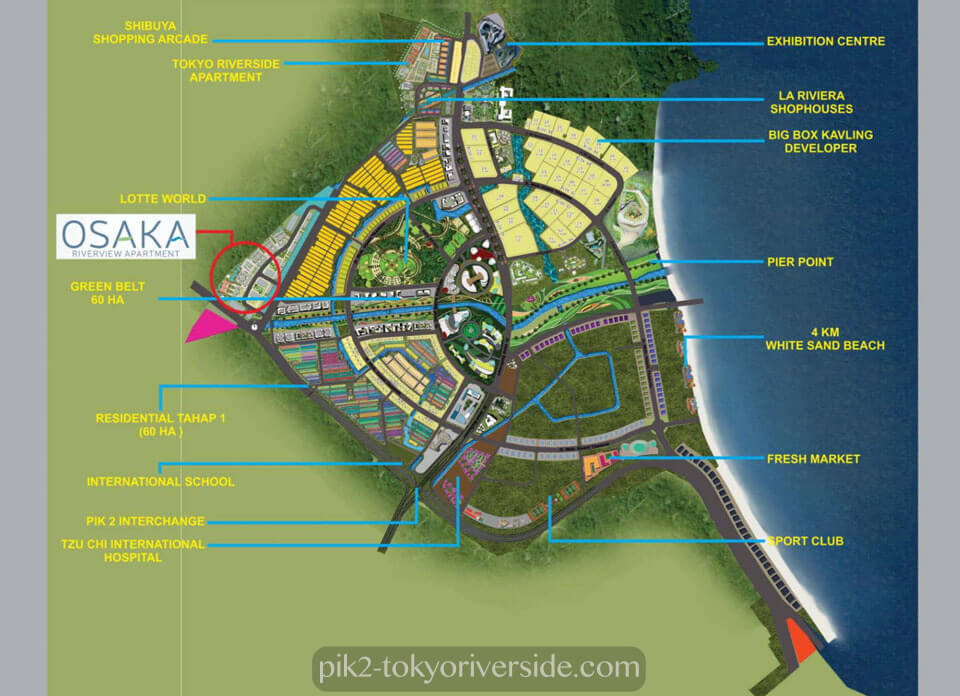 Lokasi Osaka Riverview Apartment PIK 2