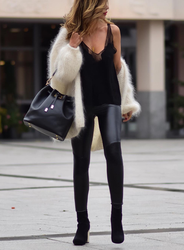 black everything + white knit cardi