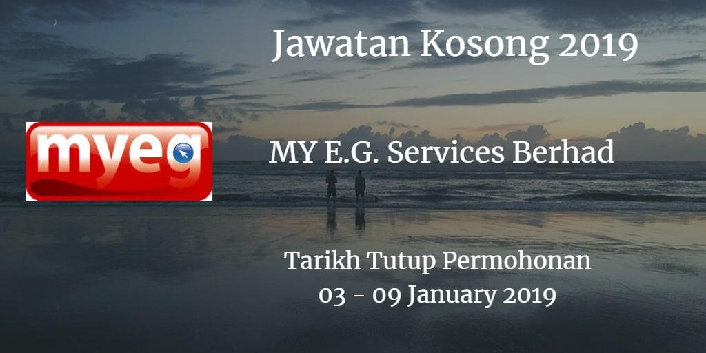 Jawatan Kosong MY E.G. Services Berhad 03 - 09 January 2019