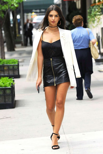 Emily Ratajkowski in Short Leather Skirt out in NYC