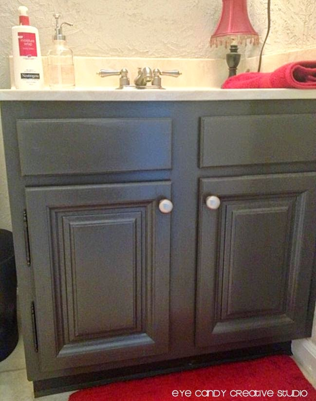 expresso painted bathroom cabinets, step by step on repainting bathroom cabinets