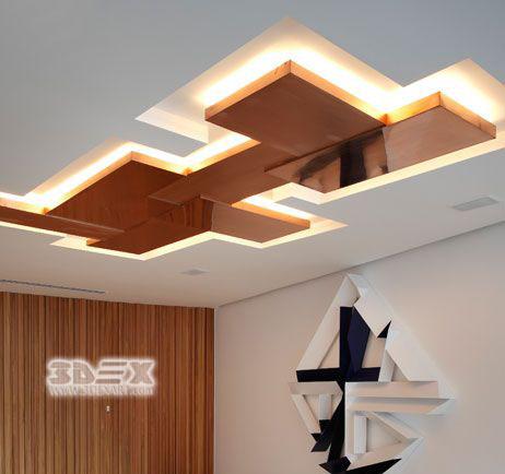 POP Design False Ceiling For Living Room With LED Indirect Lighting