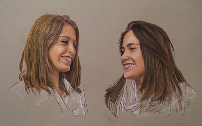 Retrato a pastel de dos chicas mirándose