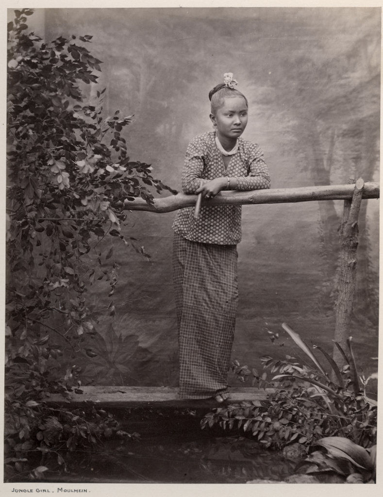Studio Photograph of a Burmese Girl - Burma (Myanmar) c1870's