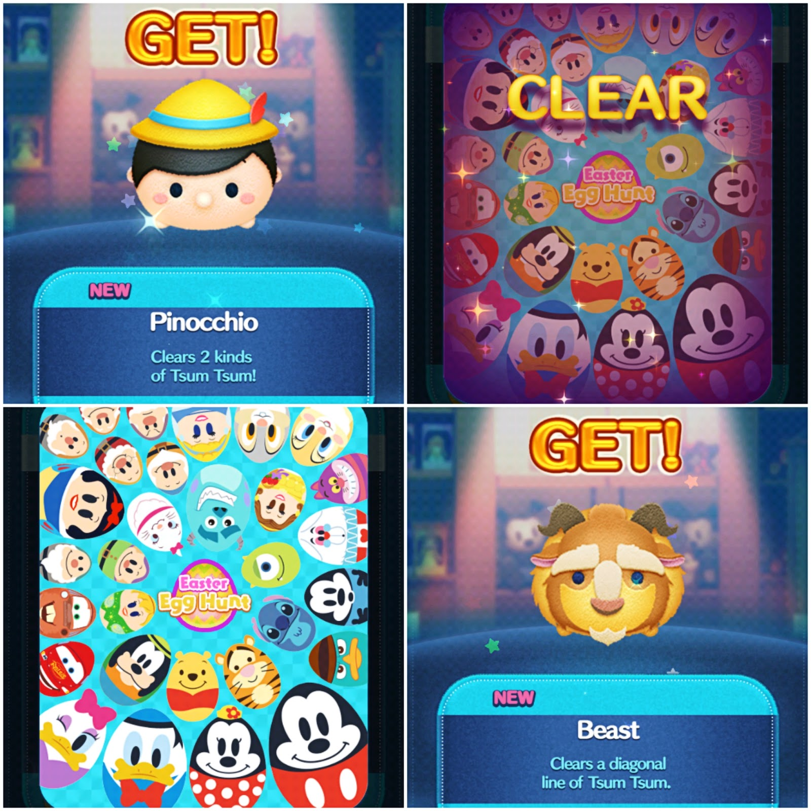 disney tsum tsum app, easter egg hunt, pinocchio, beauty and the beast