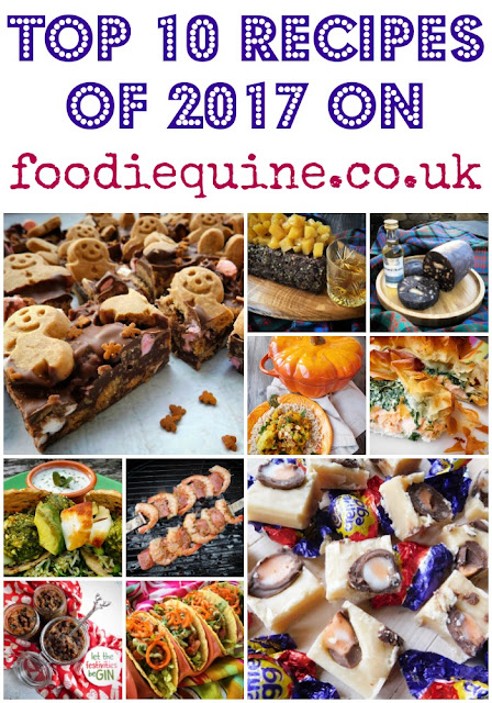 www.foodiequine.co.uk The Top 10 most popular recipes of 2017 on Foodie Quine. Chocolate Haggis, Creme Egg Tablet, Gingerbread Men Rocky Road, Vegan Tacos, Haggis Meatloaf, Salmon Encroute, Steak & Shrimp Kebabs, Gin Mincemeat, Veggie Skewers,  Pumpkin Korma.