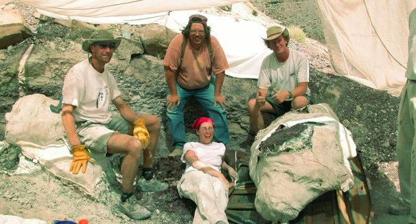 Utah Geological Survey, sit around the jacket enfolding the skull of the half mammal, half reptile found in Utah.
