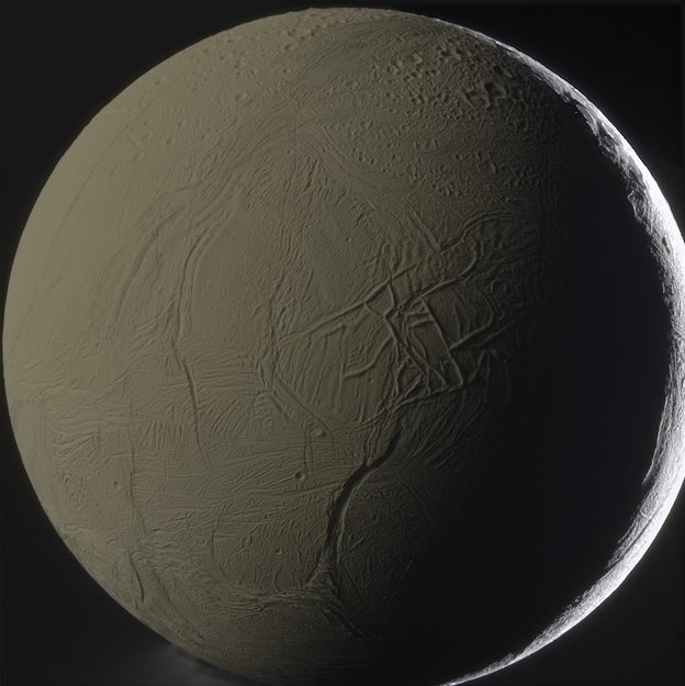This face-on colour view of Enceladus was taken by the international Cassini spacecraft on 31 January 2011, from a distance of 81 000 km, and processed by amateur astronomer Gordan Ugarković.  The Cassini–Huygens mission is a cooperative project of NASA, ESA and ASI, the Italian space agency. NASA's Jet Propulsion Laboratory, a division of the California Institute of Technology in Pasadena, manages the mission for NASA's Science Mission Directorate, Washington DC, USA.  This image was featured as Space Science image of the week on 22 April 2013. Copyright NASA/JPL-Caltech/SSI/G. Ugarković