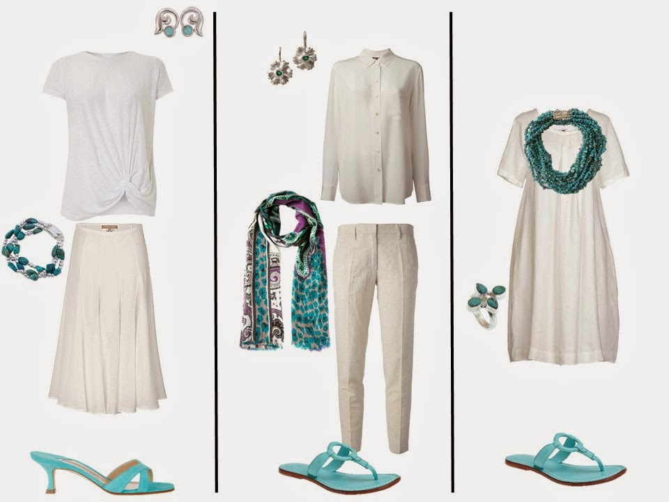 "three outfits from a white ""Monday Morning Wardrobe"" with turquoise blue accessories"