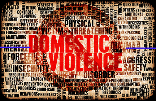 Poster with images related to domestic violence with a circle and cross out mark