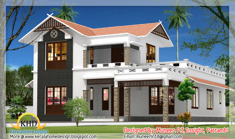 Beautiful home elevation designs in 3d indian home decor for New kerala house plans with front elevation