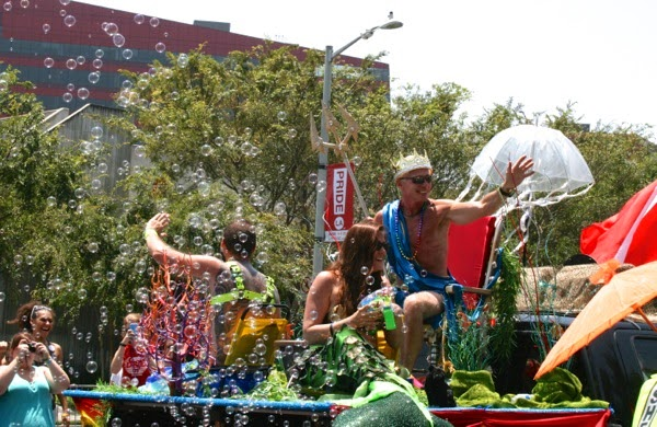 Gay divers float West Hollywood Pride Parade 2014