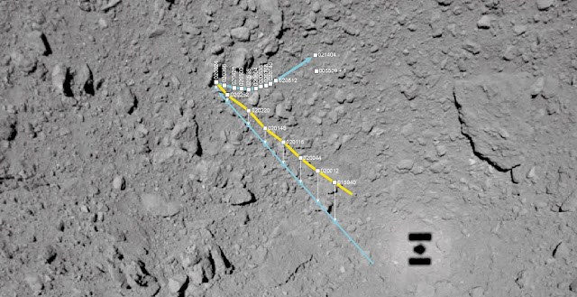 numerous boulders many rocks no dust mascot s zigzag course across the asteroid ryugu