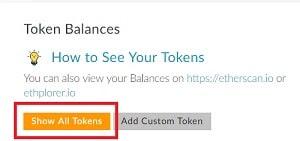 Mostrar tokens de Enjin Coin ENJ en My Ether Wallet Monedero
