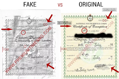 Photos: Premium Times points out discrepancies between Kemi Adeosun's alleged forged NYSC discharge certificate with another obtained in July of 2009