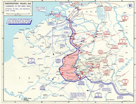 16 May 1940 worldwartwo.filminspector.com Situation map Meuse Crossing